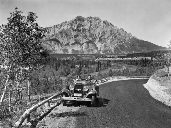 Canadian Pacific Railroad Photograph - A Roadster In The Rockies by Underwood Archives