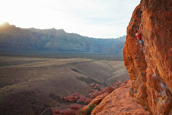 Noosa Wall Art - Photograph - A Rock Climber In The Calico Hills, Red by Andrew Peacock