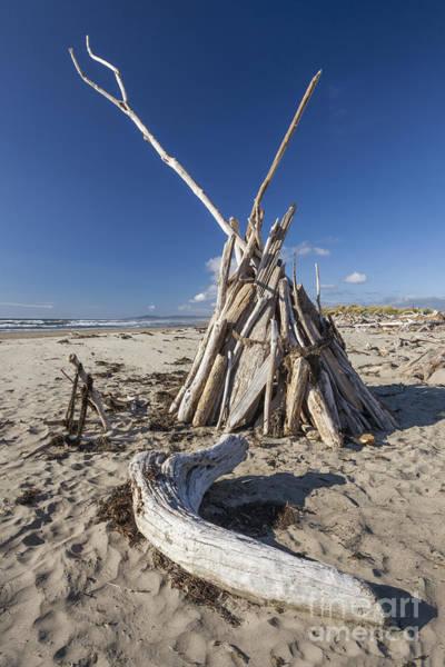 Photograph - A Teepee Madeup Of Driftwood At Bandon Beach by Bryan Mullennix