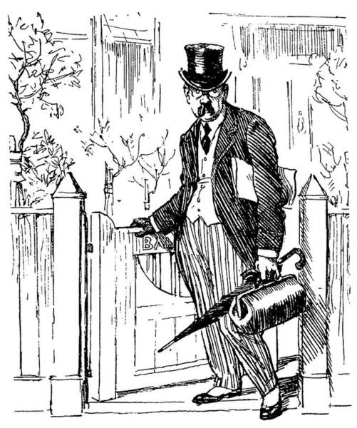 Wall Art - Drawing - A Typical British City Gent Leaving by Mary Evans Picture Library
