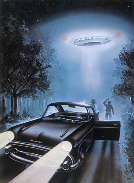 Stop Light Drawing - A Ufo Abduction In New Hampshire, Usa by Mary Evans Picture Library
