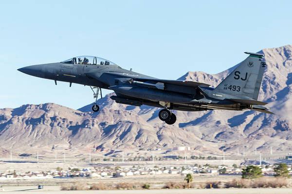 Flying The Flag Wall Art - Photograph - A U.s. Air Force F-15e Strike Eagle by Rob Edgcumbe