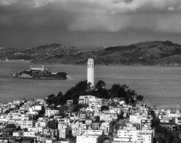 Coit Tower Photograph - A View Of Coit Tower And Alcatraz by Mountain Dreams