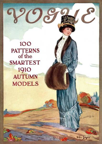 Countryside Photograph - A Vintage Vogue Magazine Cover Of A Woman by Helen Dryden