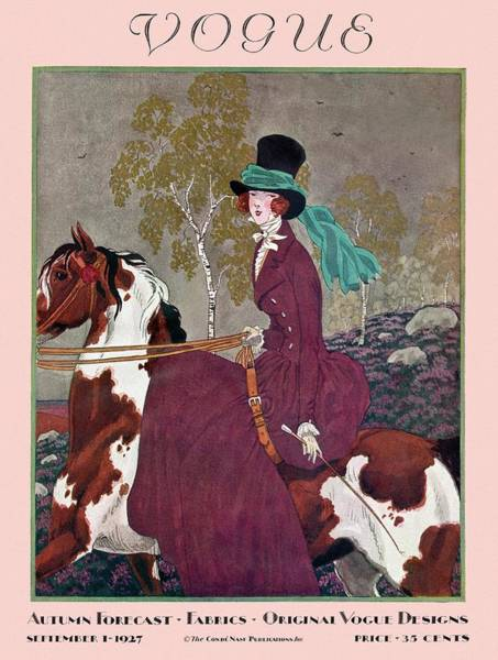 Horseback Riding Photograph - A Vintage Vogue Magazine Cover Of A Woman by Pierre Brissaud