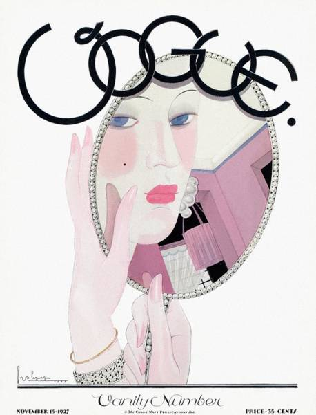 Mirror Photograph - A Vogue Magazine Cover Of A Woman by Georges Lepape