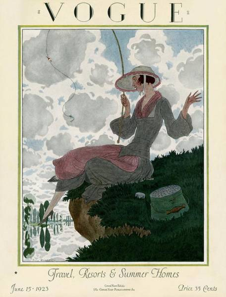 A Vogue Magazine Cover Of A Woman Art Print by Pierre Brissaud