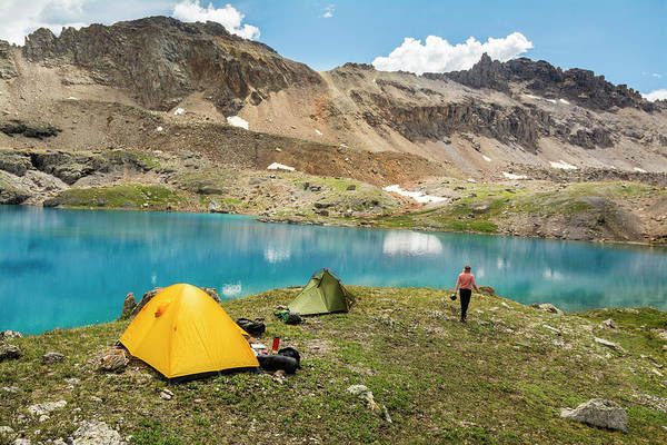 Wall Art - Photograph - A Woman Camping Near Blue Lake, San by Kennan Harvey