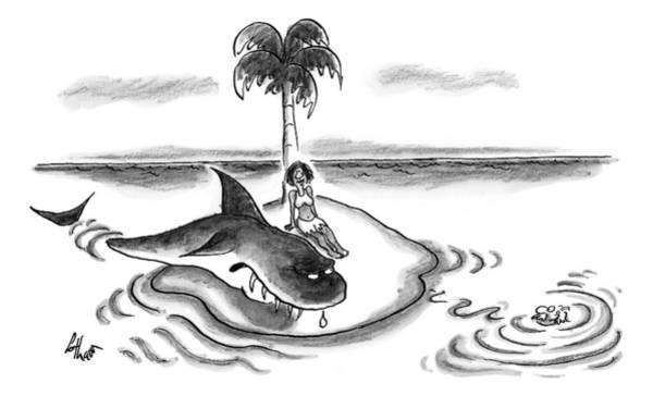 Shark Drawing - A Woman Is Seen On A Deserted Island With A Shark by Frank Cotham