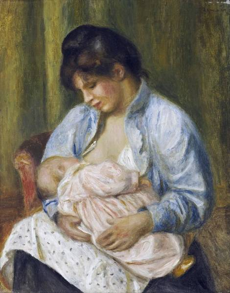 Painting - A Woman Nursing A Child by Celestial Images