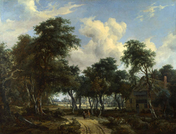 Meindert Hobbema Painting - A Woody Landscape With A Cottage by Meindert Hobbema
