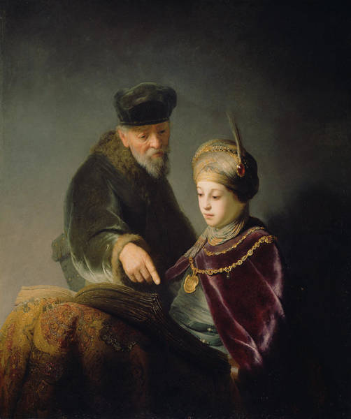 Painting - A Young Scholar And His Tutor by Celestial Images