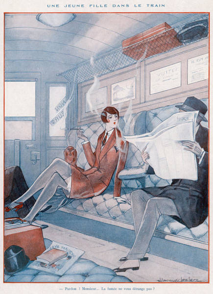 Wall Art - Drawing - A Young Woman Smoking In A Train by Mary Evans Picture Library
