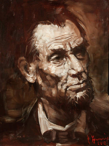 President Lincoln Wall Art - Painting - Abraham Lincoln by Ylli Haruni