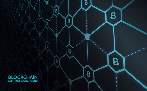Abstract Blockchain Network Background Art Print by AF-studio