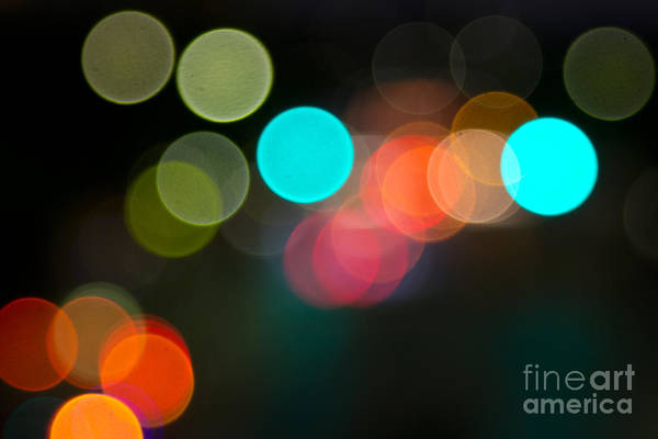 Manual Focus Wall Art - Photograph - Abstract Colorful Round Bokeh Lights by Beverly Claire Kaiya