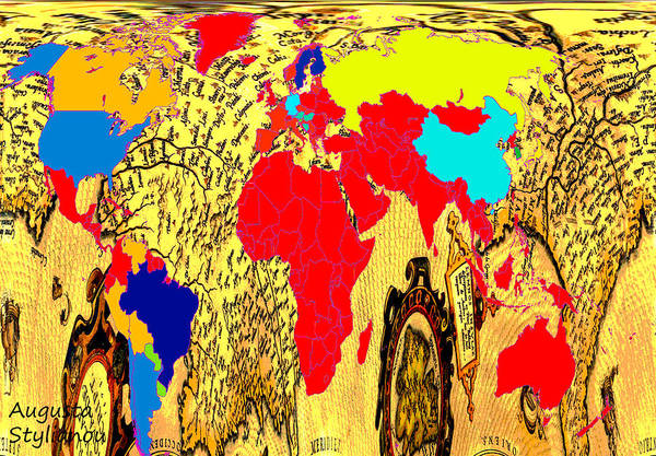 Digital Art - World Map And Abstract Cyprus by Augusta Stylianou