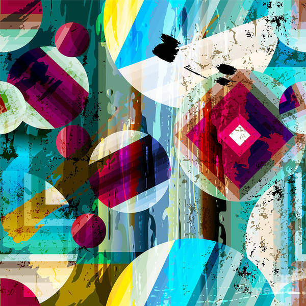 Bright Digital Art - Abstract Geometric Pattern Background by Kirsten Hinte
