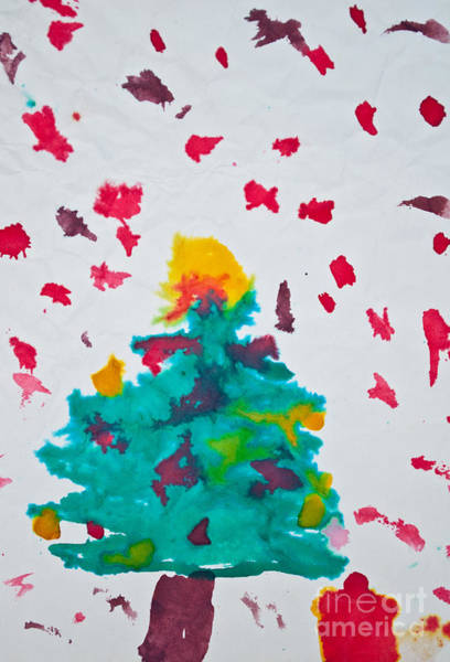 Christmass Photograph - Abstract Kid's Painting Of Christmas Tree With Gifts by Aleksandar Mijatovic