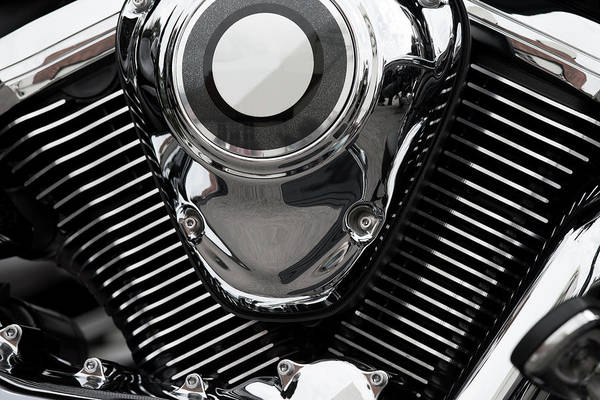 Chrome Engine Photograph - Abstract Motorcycle Engine by Andrew Dernie