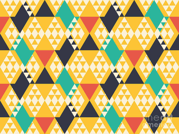 Bright Wall Art - Digital Art - Abstract Retro Pattern. Vector by Artsandra