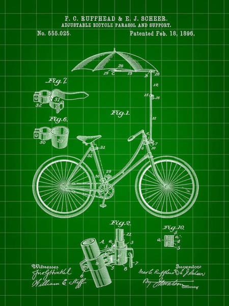 Wall Art - Digital Art - Adjustable Bike Patent 1896 - Green by Stephen Younts