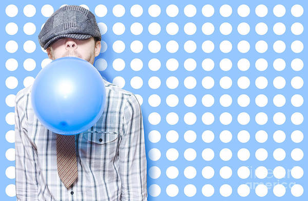 Adolescence Photograph - Adorable Vintage Child Inflating Birthday Balloon by Jorgo Photography - Wall Art Gallery