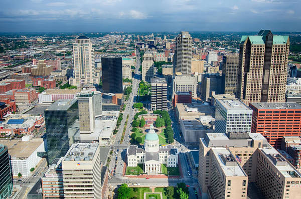 Photograph - aerial of The Old Court House surrounded by downtown St. Louis by Alex Grichenko