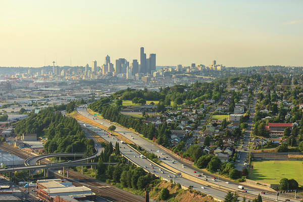 Interstate 5 Wall Art - Photograph - Aerial View Of Seattle, Washington by Stuart Westmorland