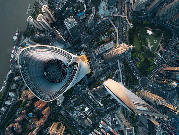 Aerial View Of Shanghai Art Print by Ansonmiao