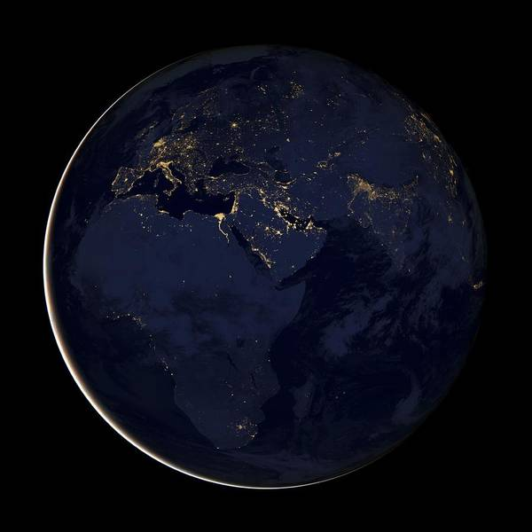 Suomi Photograph - Africa At Night, Satellite Image by Science Photo Library