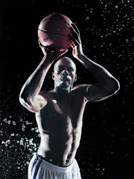 Shaved Head Photograph - African American Basketball Player by Erik Isakson