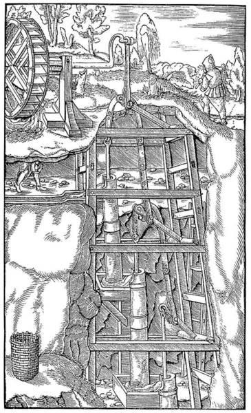 German Renaissance Drawing - Agricola Water Pump, 1556 by Granger