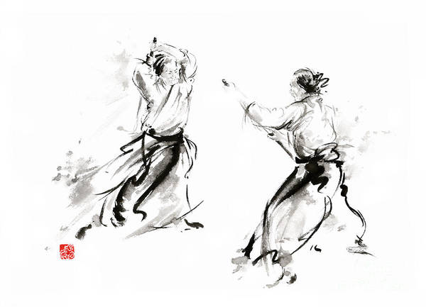 Enlightenment Painting - Aikido Enso Circle Martial Arts Sumi-e Original Ink Painting Artwork by Mariusz Szmerdt