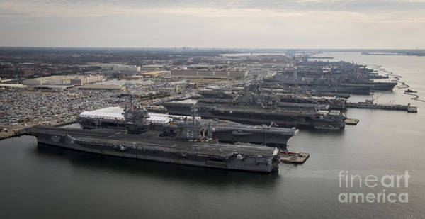 Norfolk Virginia Wall Art - Photograph - Aircraft Carriers In Port At Naval by Stocktrek Images