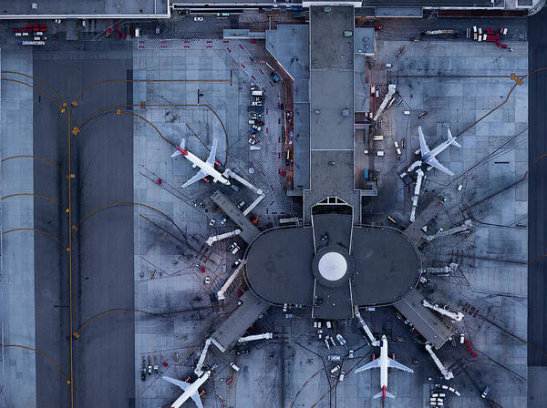 Security Service Photograph - Airliners At  Gates And Control Tower by Michael H