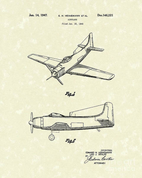 Single Drawing - Airplane 1947 Patent Art by Prior Art Design