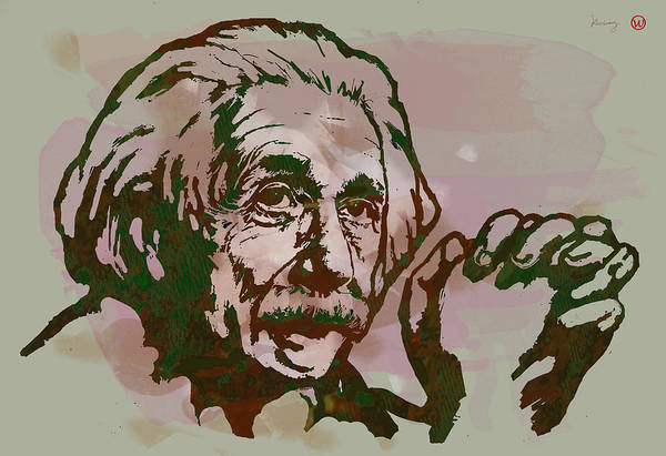Developed Wall Art - Drawing - Albert Einstei - Pop Stylised Art Sketch Poster by Kim Wang