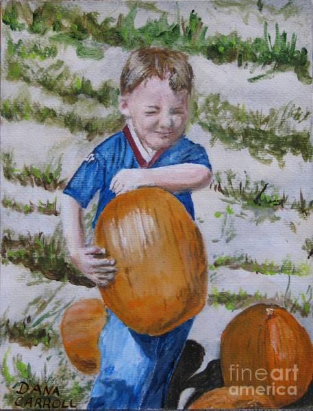 Wall Art - Painting - Alex And The Great Pumpkin 1488aa by Dana Carroll