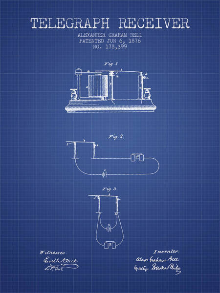 Bell Digital Art - Alexander Graham Bell Telegraph Receiver Patent From 1876 - Blue by Aged Pixel