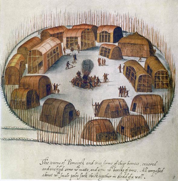 Wall Art - Drawing - Algonquian Village, 1585 by Granger