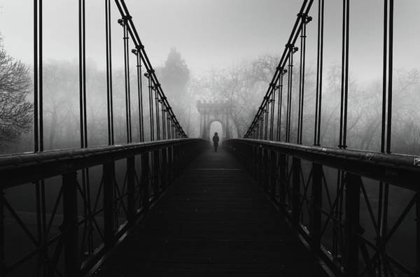 Suspension Bridge Photograph - Alone by Catalin Alexandru