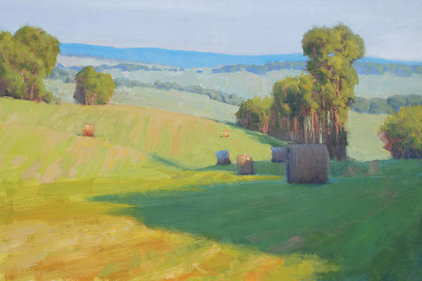 Haybale Wall Art - Painting - Along Rectortown Road by Armand Cabrera