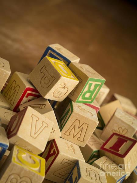 Wood Pile Photograph - Alphabet Blocks by Edward Fielding