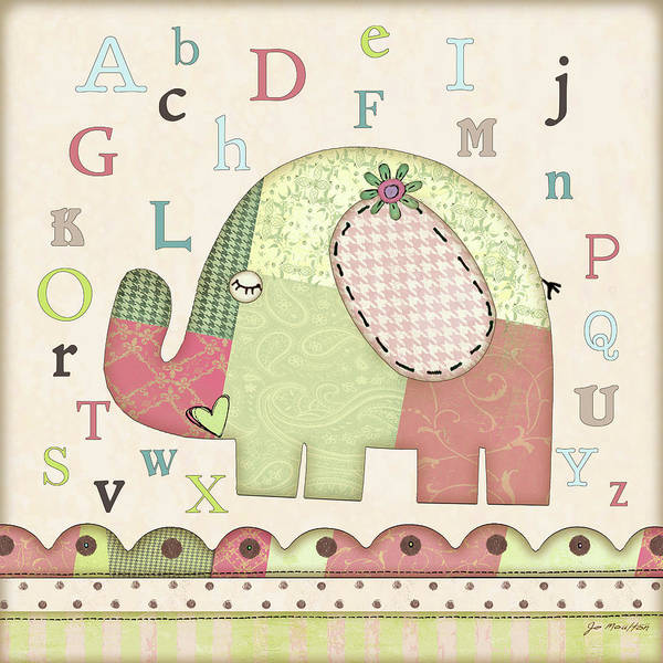 Nursery Painting - Alphabet Elephant by Jo Moulton