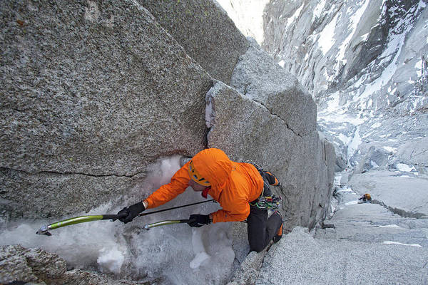 Wall Art - Photograph - Alpinist Freeing Very Hard Mild Ground by Jonathan Griffith