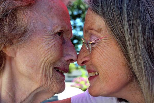 Wall Art - Photograph - Alzheimer's Patient With Her Daughter by Tony Craddock/science Photo Library