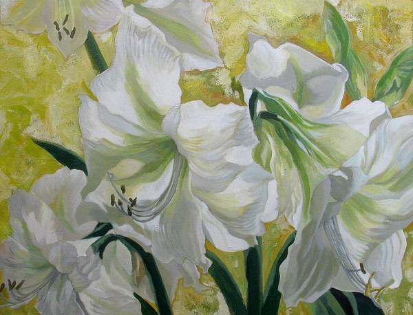 Painting - Amaryllis With Yellow by Alfred Ng