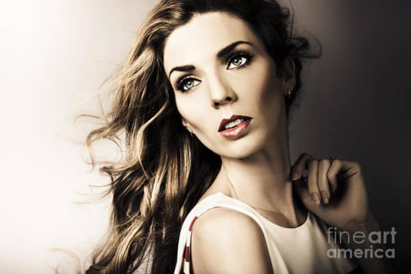 Beauty Salon Photograph - Amazing Brunette Woman. Beautiful Long Wavy Hair by Jorgo Photography - Wall Art Gallery