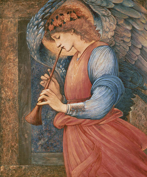 Backdrop Painting - An Angel Playing A Flageolet by Sir Edward Burne-Jones
